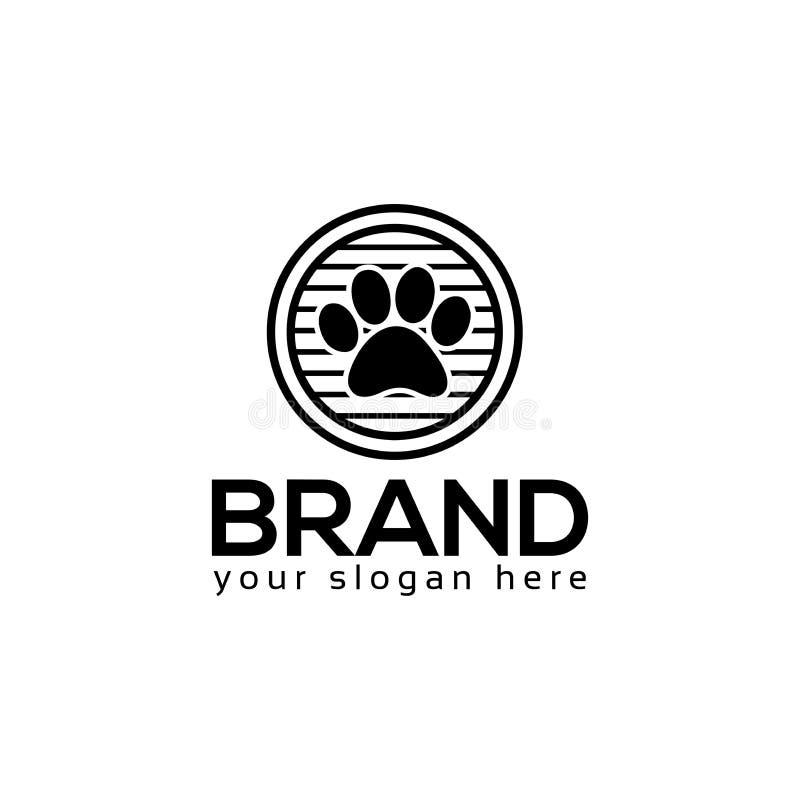 De hond handtastelijk wordt embleemvector Vlak embleemontwerp stock illustratie
