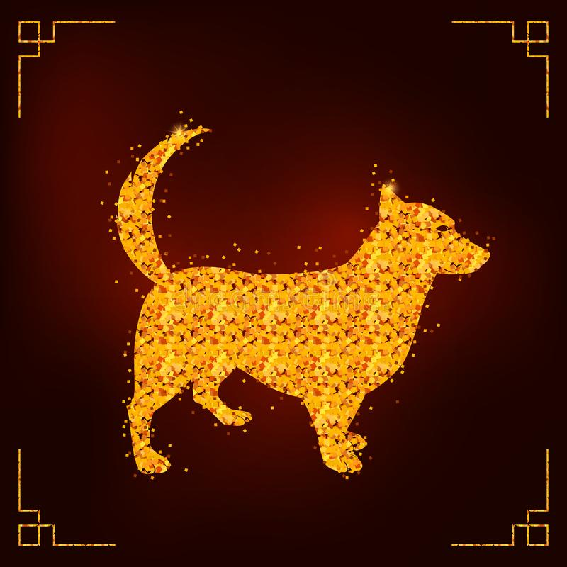 De hond is het symbool van het Chinese Nieuwjaar 2018 stock illustratie
