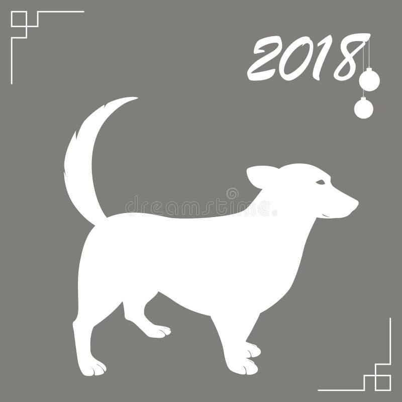 De hond is het symbool van het Chinese Nieuwjaar 2018 Ontwerp voor de kaarten van de vakantiegroet, kalenders, banners, affiches vector illustratie