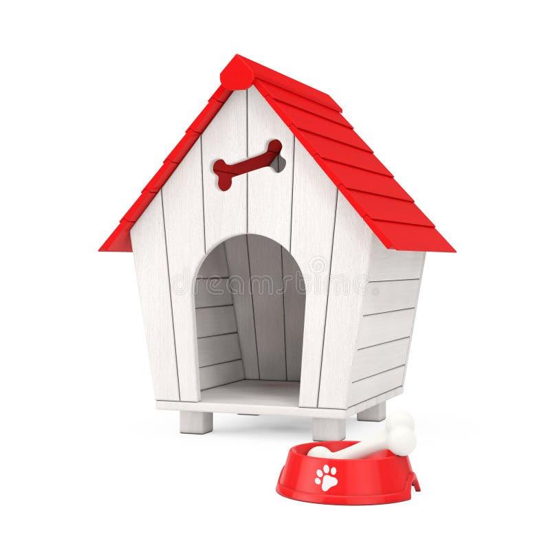 De hond kauwt Been in Rode Plastic Kom voor Hond voor het Houten Huis van de Beeldverhaalhond het 3d teruggeven royalty-vrije stock fotografie