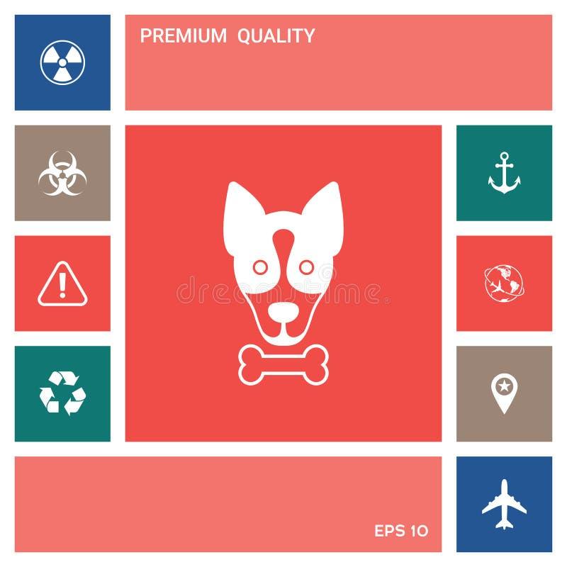 De hond met beenembleem, symbool, beschermt teken, pictogram Maaltijd voor huisdier royalty-vrije illustratie