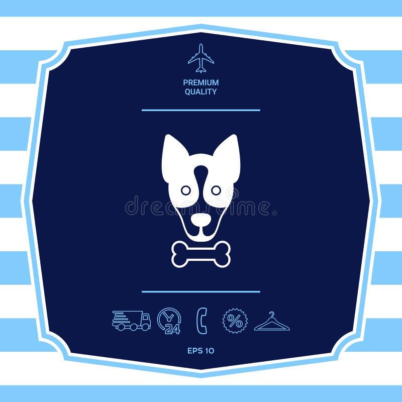 De hond met beenembleem, symbool, beschermt teken, pictogram Maaltijd voor huisdier stock illustratie