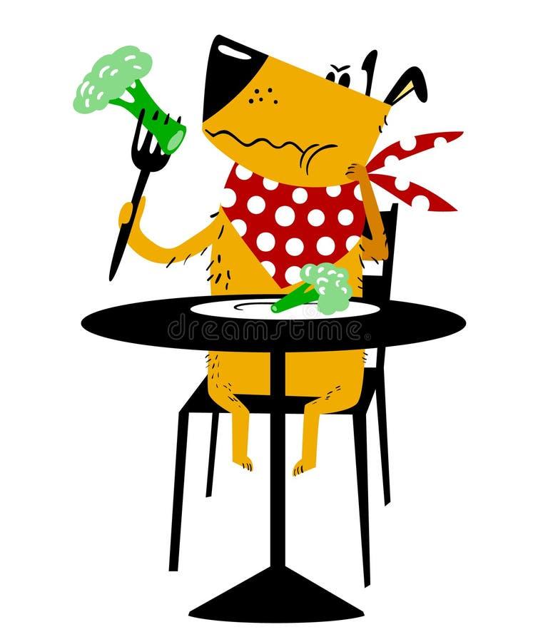 De hond op een dieet Een droevige hond zit bij een lijst en eet broccoli stock illustratie