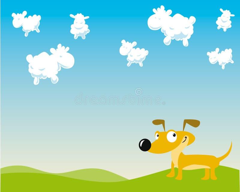 De hond telt schapen royalty-vrije illustratie