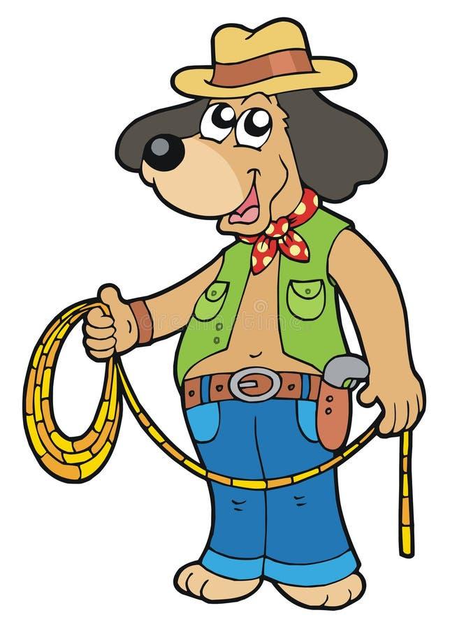 De hond van de cowboy met lasso vector illustratie