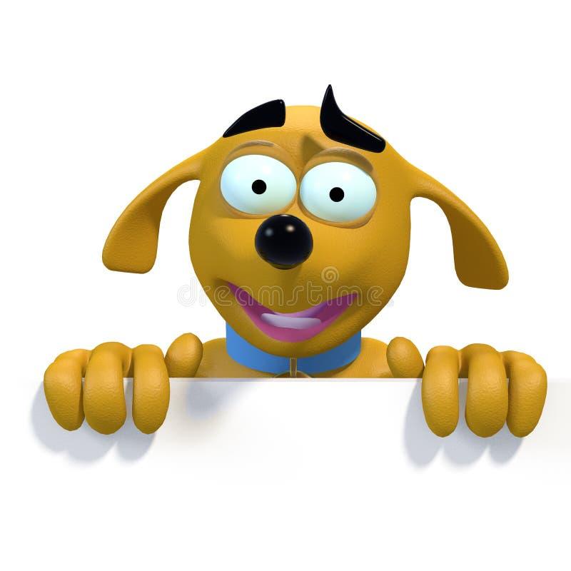 De hond van het beeldverhaal op hoogste rand van leeg teken royalty-vrije illustratie
