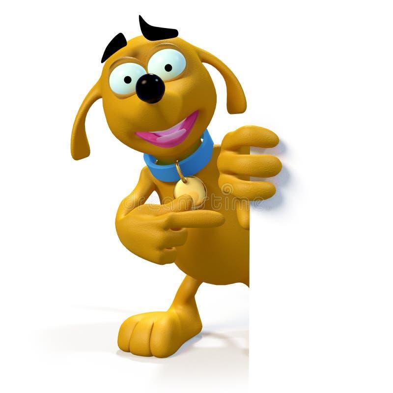 De hond van het beeldverhaal op rand van teken stock illustratie