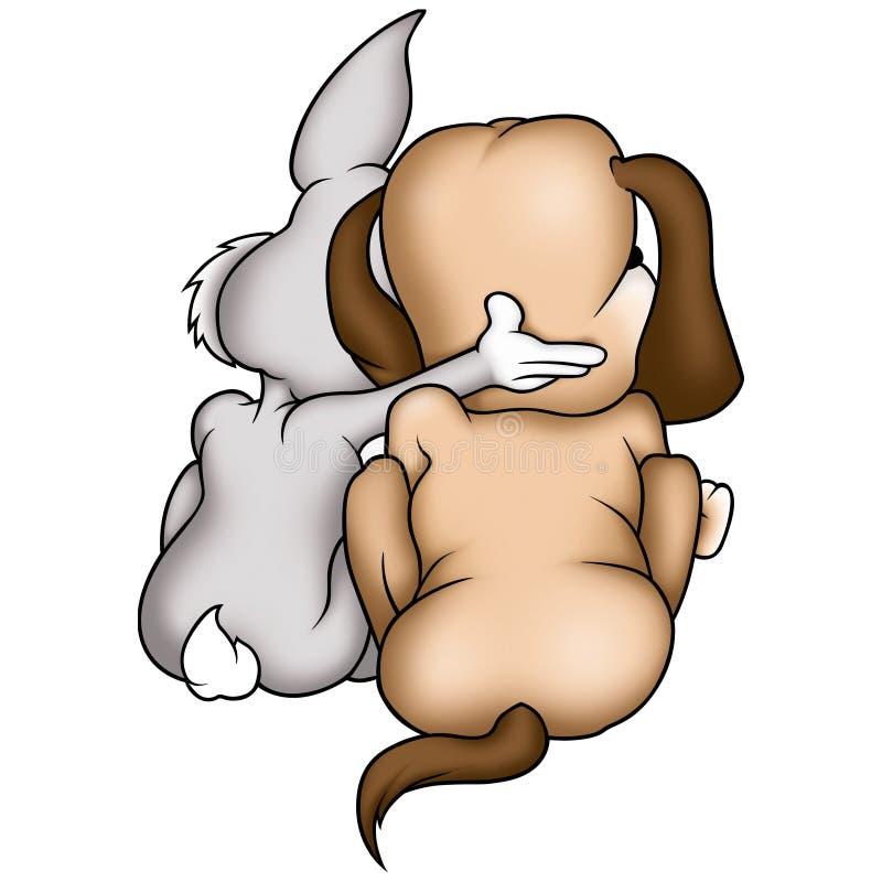 De hond van het konijn en van het puppy stock illustratie