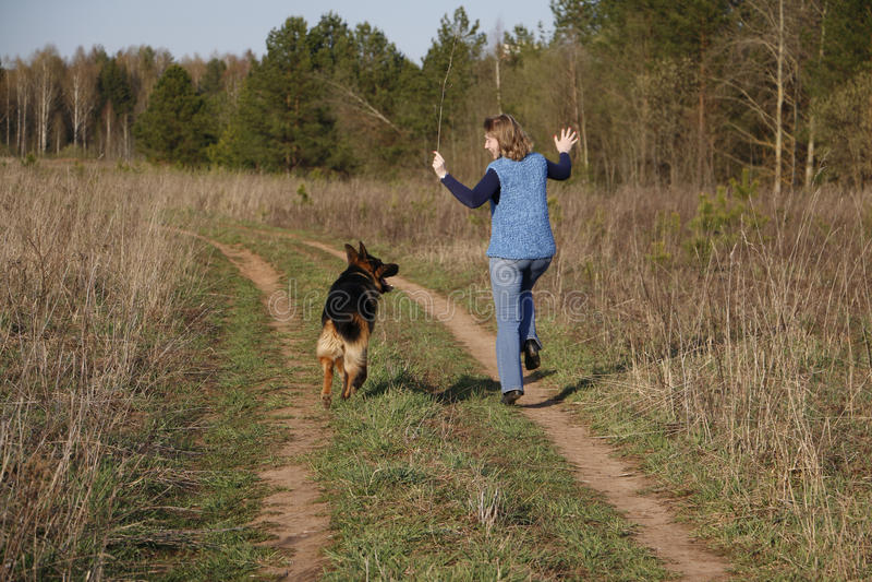 De hond van het meisje en van de Duitse herder stock afbeelding