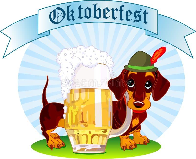 De hond van Oktoberfest stock illustratie