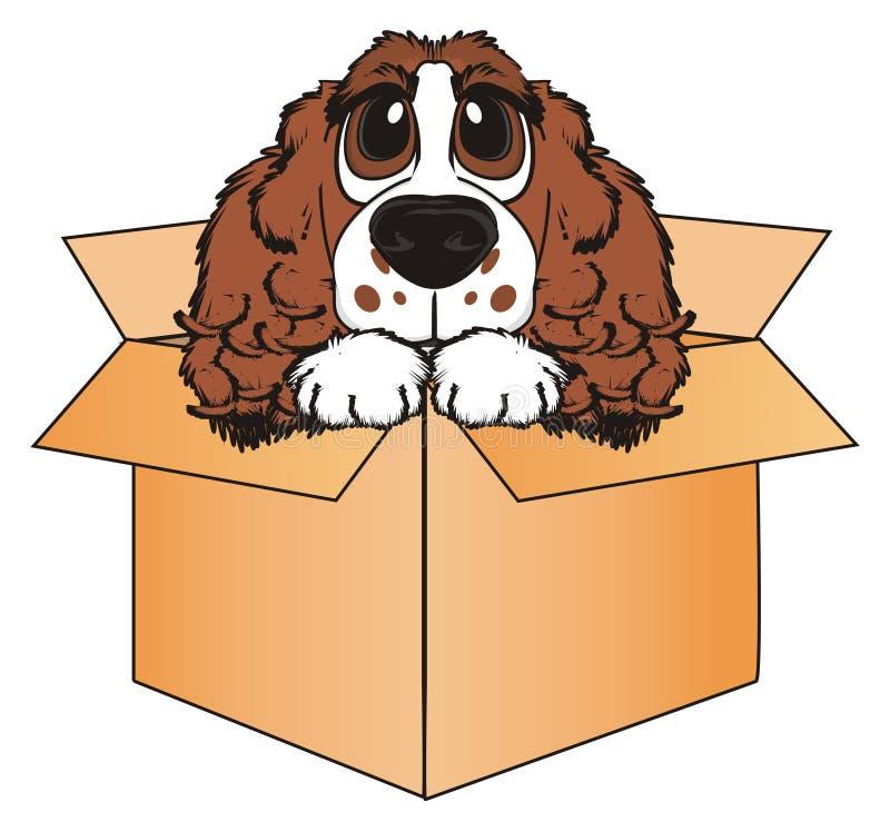 De hond zit op doos stock illustratie