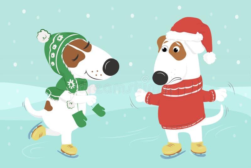 De honden in kleren schaatsen onder de sneeuw vector illustratie