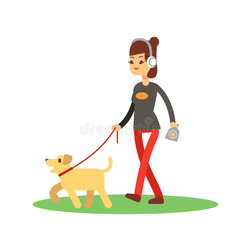 De honden maken het lopen concept schoon - de hond van meisjesgangen op wit wordt geïsoleerd dat vector illustratie