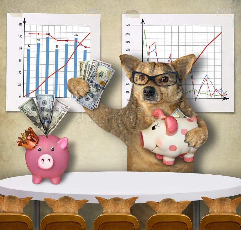De hondfinancier onderwijst zijn studenten royalty-vrije stock foto