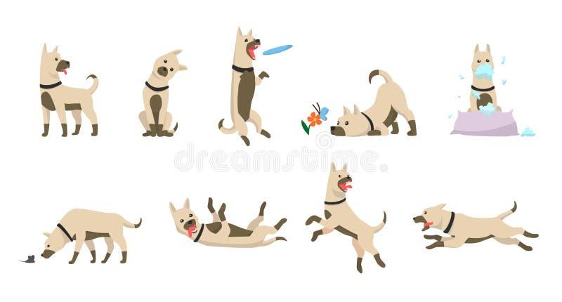 De hondreeks van het beeldverhaal De pictogrammen van hondentrucs en actie opleiding het graven het vuil die voedsel voor huisdie vector illustratie