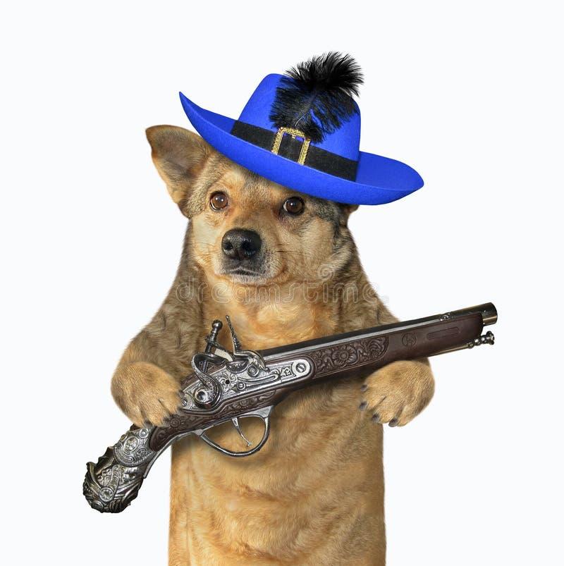 De hondstrijder houdt een pistool 2 royalty-vrije stock foto's