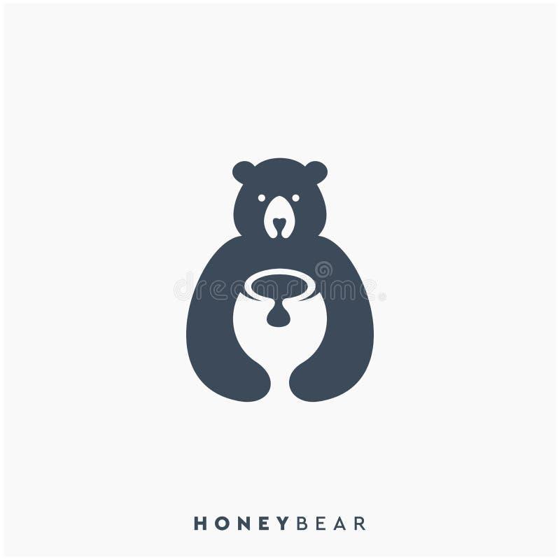 De honing draagt embleemontwerp, vector, illustratie stock illustratie