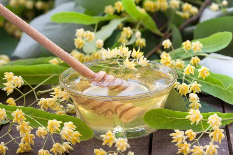 De honing van de linde met lindebloemen stock afbeeldingen