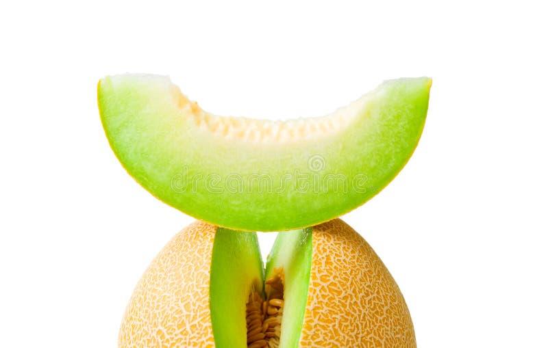 De honingdauw van de meloen en een plak royalty-vrije stock foto's