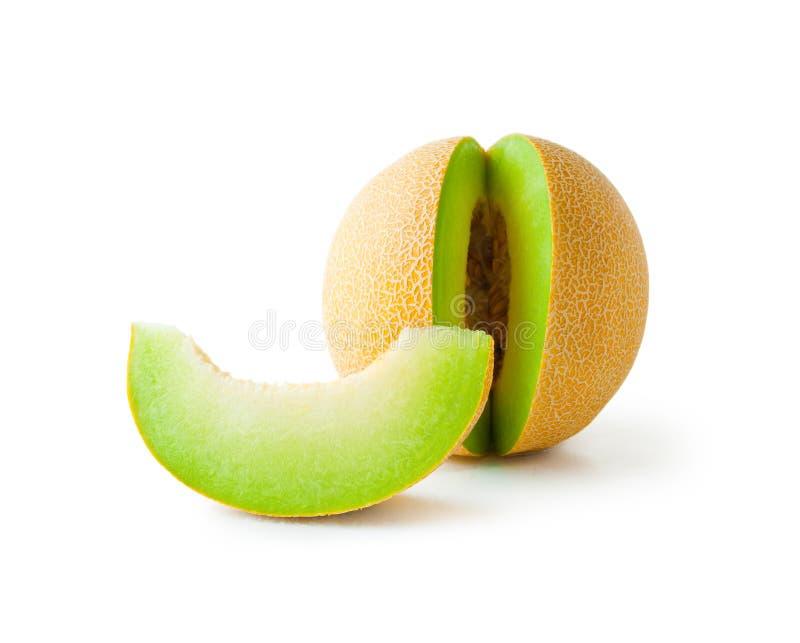 De honingdauw van de meloen en meloenplak stock foto