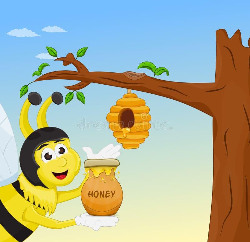 De honingskruik van de honingbijholding royalty-vrije illustratie
