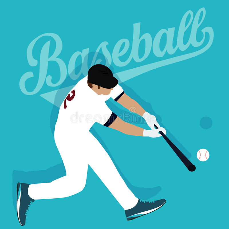 De honkbalspeler raakte atleet van de bal de Amerikaanse sport royalty-vrije illustratie