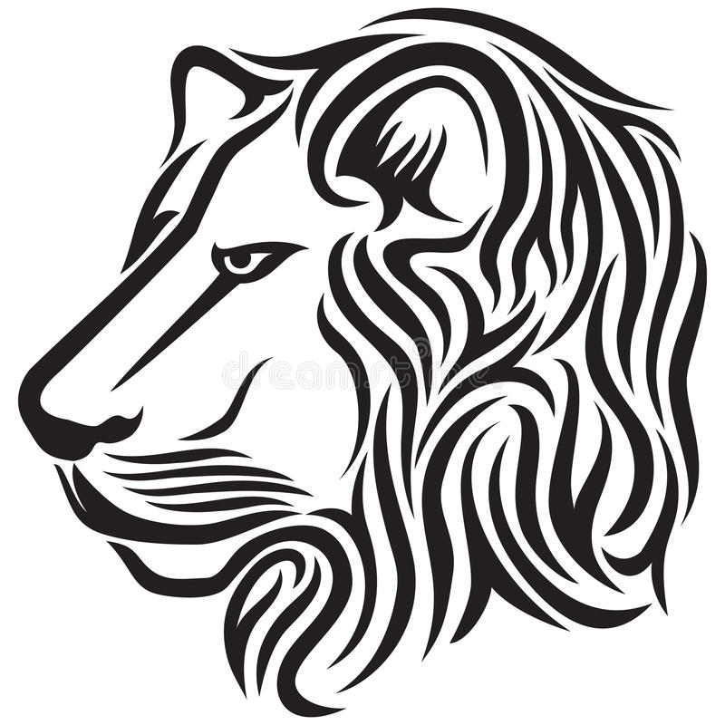 De hoofd stammentatoegering van de leeuw royalty-vrije illustratie