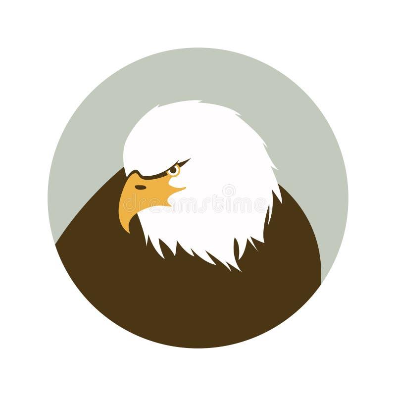 De hoofd, vectorillustratie van Eagle, vlakke stijl royalty-vrije stock afbeeldingen