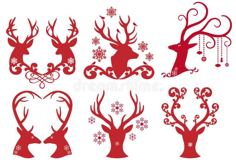 De hoofden van het de hertenmannetje van Kerstmis, vector royalty-vrije illustratie
