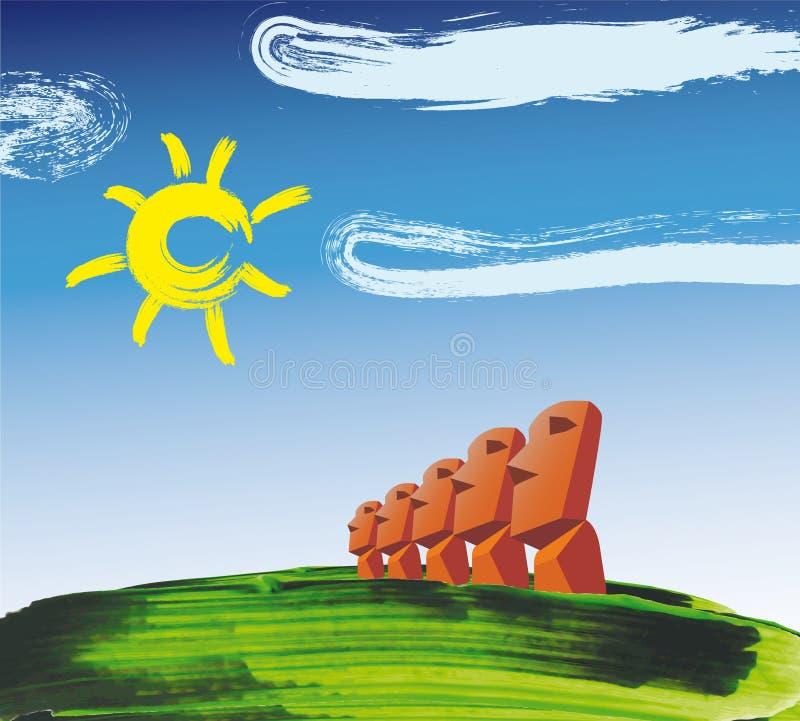 De hoofden van Moai van het Eiland van Pasen stock illustratie