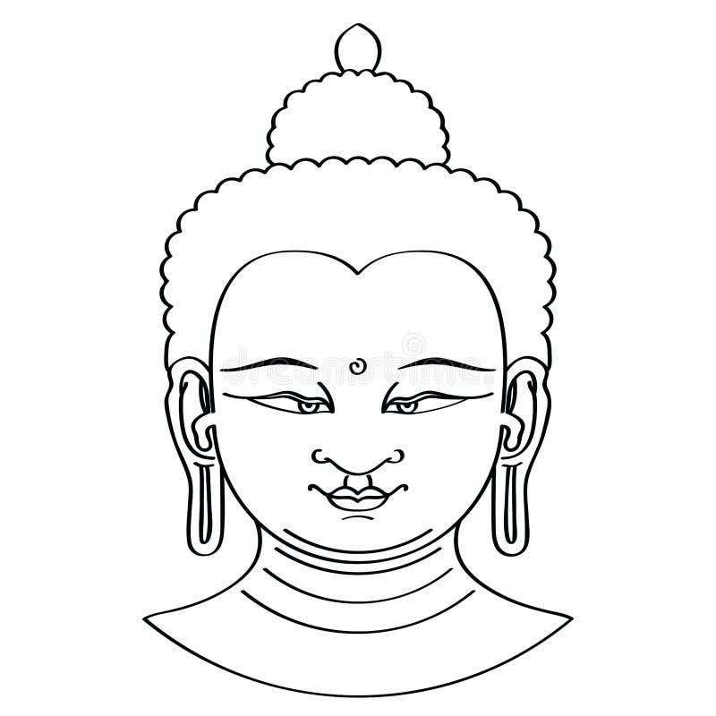 De hoofdillustratie van Boedha met borsteltechniek vector illustratie