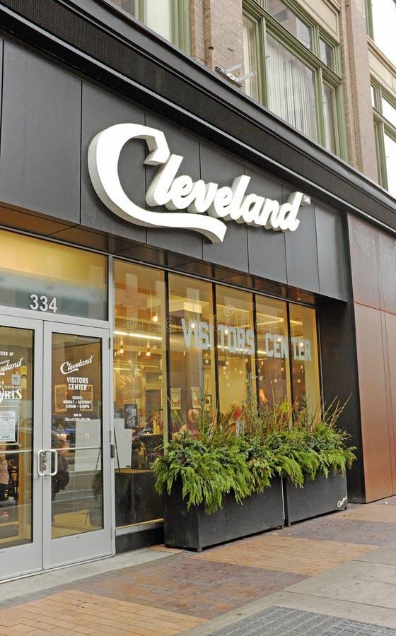 De hoofdingang van Cleveland Visitors Center op Euclid-Weg in Cleveland van de binnenstad, Ohio, de V.S. royalty-vrije stock foto's