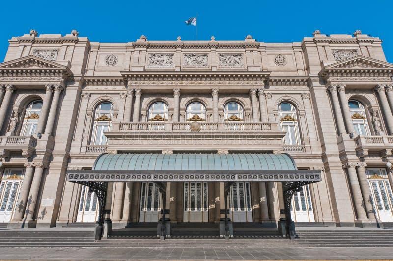 De hoofdingang van het Theater van de dubbelpunt in Buenos aires royalty-vrije stock foto