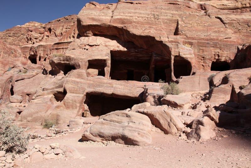 De hoofdstad van Petra Nabataeans (Al Khazneh), Jordanië stock afbeeldingen