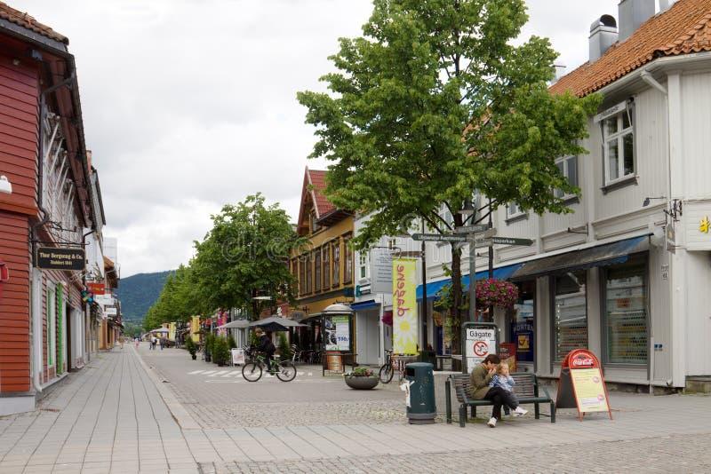 De hoofdstraat in de stad Lillehammer in Noorwegen stock fotografie