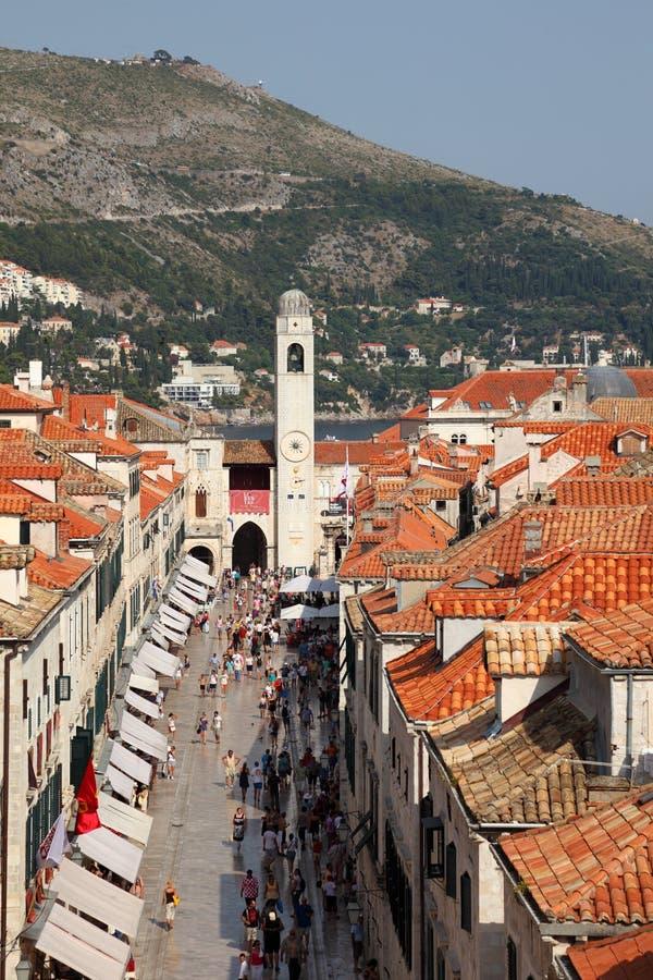De hoofdstraat van Dubrovnik stock foto
