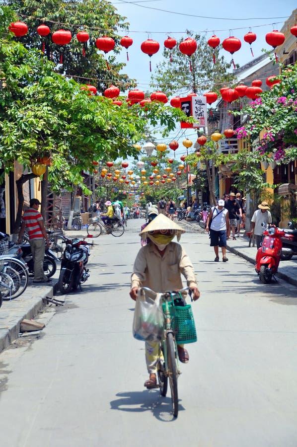 De Hoofdstraat van Hoi, Vietnam. stock afbeelding