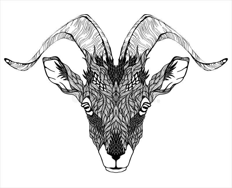 De Hoofdtatoegering van de geitmascotte psychedelic stock illustratie