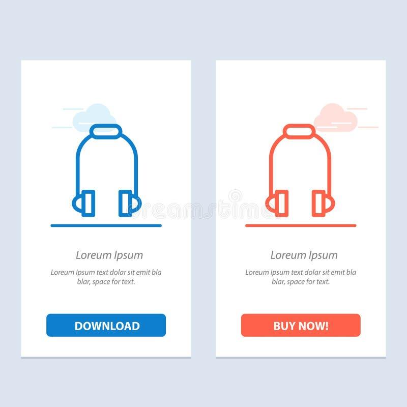 De hoofdtelefoon, de Oortelefoon, de Telefoon, de Muziek Blauwe en Rode Download en kopen nu de Kaartmalplaatje van Webwidget vector illustratie