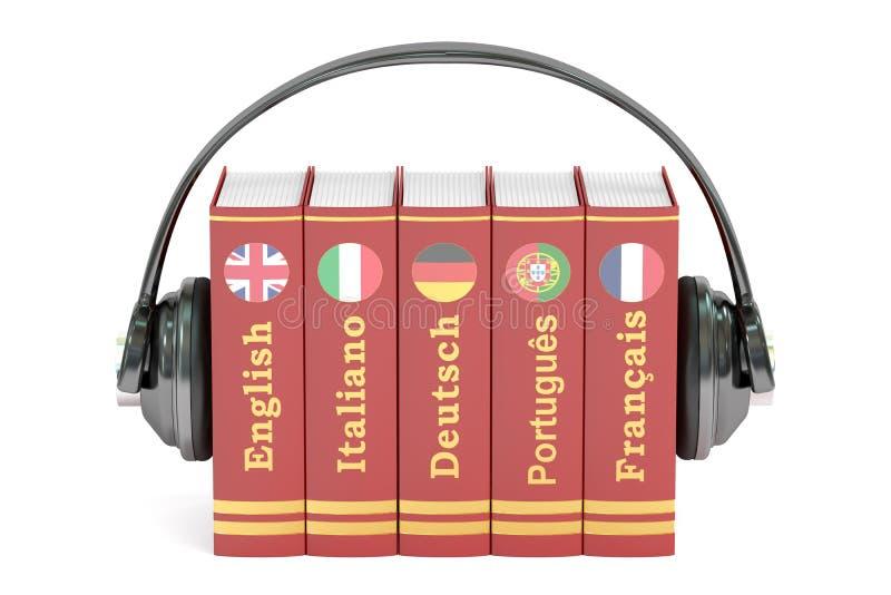 De hoofdtelefoons en de boeken, talen het leren en vertalen concept stock illustratie