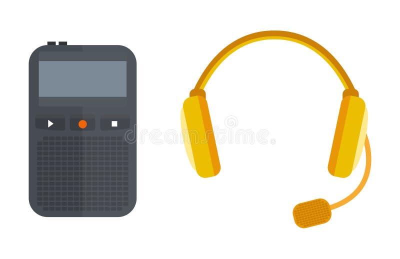 De hoofdtelefoons het vectorpictogram het hulpmiddel isoleerde van de muziektv van het microfoongesprek tonen stem radiouitzendin vector illustratie