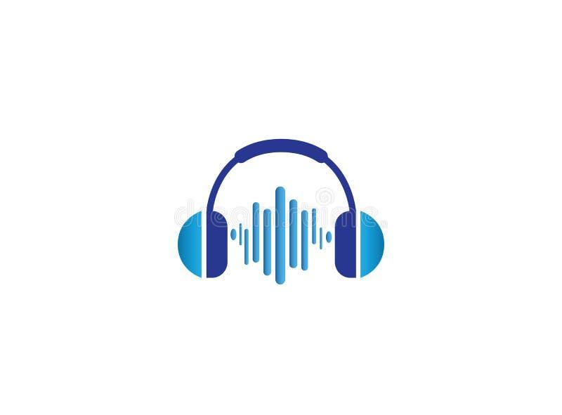 De hoofdtelefoons met muziek slaat, het ontwerp van het Hoofdtelefoonembleem vector illustratie