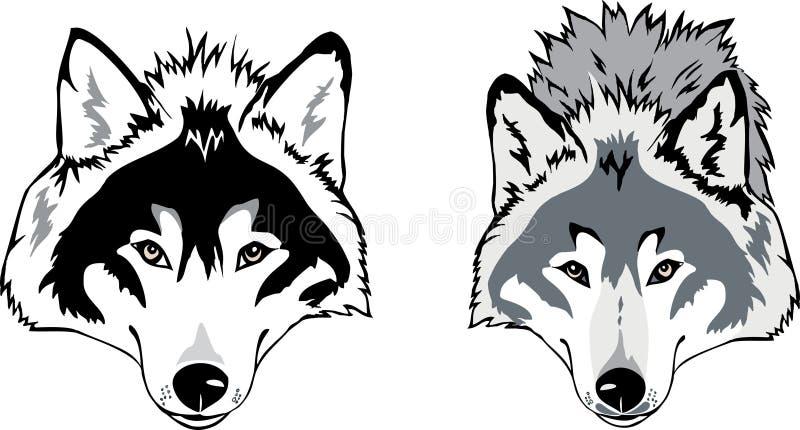 De hoofdvector van de wolf stock illustratie