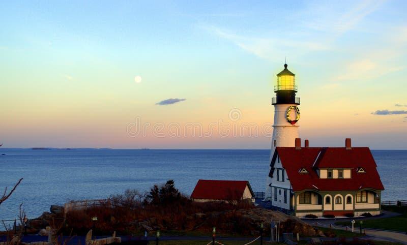 De Hoofdvuurtoren van Portland, Kaap Elizabeth Maine stock foto
