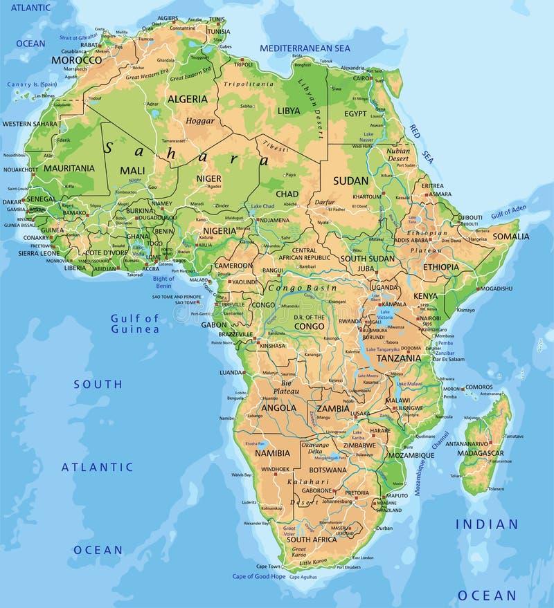 De hoog gedetailleerde fysieke kaart van Afrika met etikettering royalty-vrije illustratie