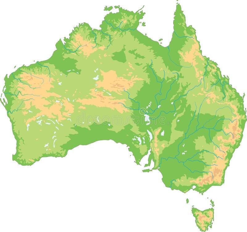 De hoog gedetailleerde fysieke kaart van Australië royalty-vrije illustratie