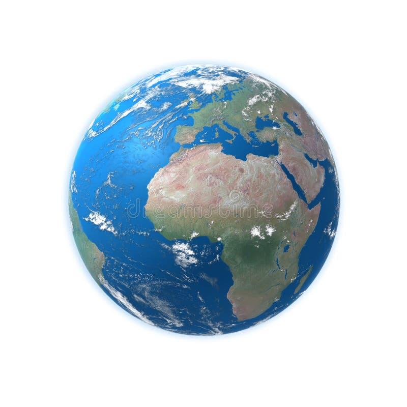 De hoog gedetailleerde kaart van de Aarde, Europa, Afrika royalty-vrije stock afbeeldingen