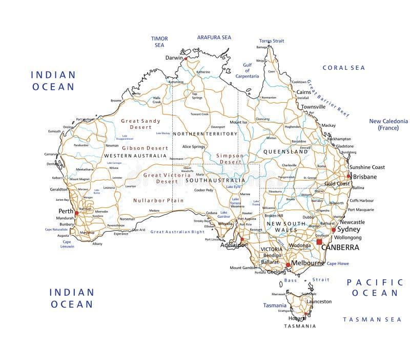 De hoog gedetailleerde wegenkaart van Australië met etikettering vector illustratie