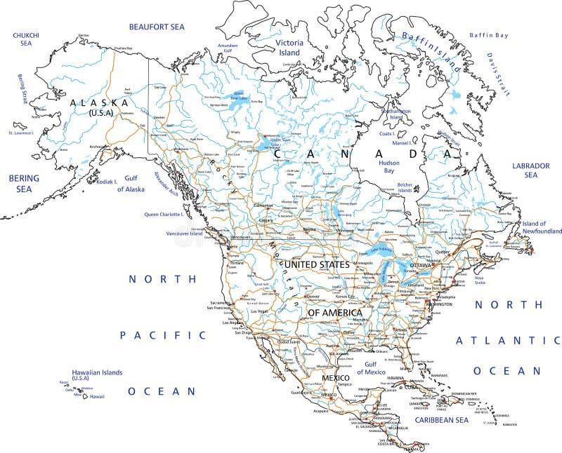 De hoog gedetailleerde wegenkaart van Noord-Amerika met etikettering stock illustratie