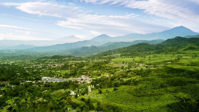 De hooglanden en het dorp van de theeaanplanting stock fotografie